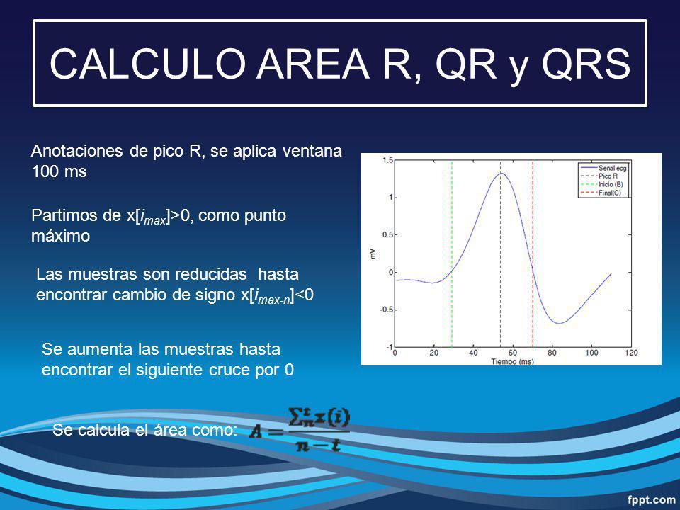 CALCULO AREA R, QR y QRS Anotaciones de pico R, se aplica ventana 100 ms. Partimos de x[imax]>0, como punto máximo.